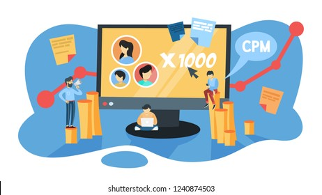 CPM concept. Cost per mille. Advertising and business promotion in the internet. Management and marketing. Isolated flat vector illustration