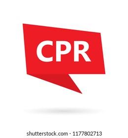 CPR (Cardiopulmonary Resuscitation) acronym on a speach bubble- vector illustration