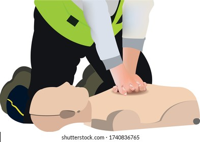 CPR Or Cardiopulmonary Resuscitation Vector Illustration. BLS technique on manikin performed by paramedic.