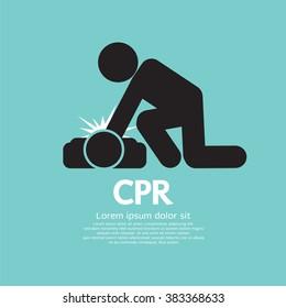 CPR Or Cardiopulmonary Resuscitation Vector Illustration