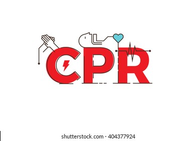 CPR -cardiopulmonary resuscitation word lettering typography design illustration with outline icons and ornaments in red theme