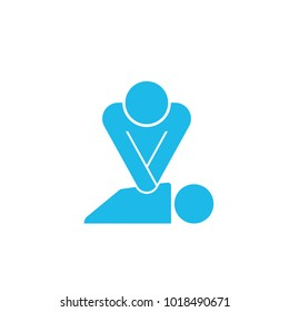 CPR training icon. Vector image isolated on white background