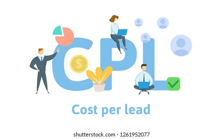 CPS, Cost Per Lead. Concept with keywords, letters, and icons. Colored flat vector illustration. Isolated on white background.