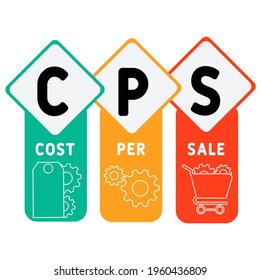 CPS - Cost Per Sale acronym. business concept background.  vector illustration concept with keywords and icons. lettering illustration with icons for web banner, flyer, landing pag