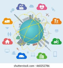 CPS (Cyber Physical System) concept image, various information upload to cloud and analytical data download to real world, Cloud Computing, Internet of Things