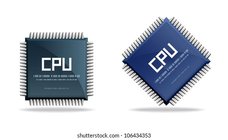 CPU (central processing unit) - Computer chip or microchip. Stylized icons.