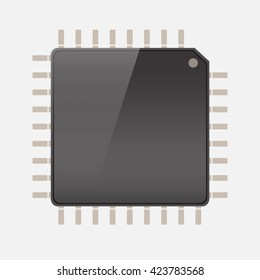 CPU (central processing unit) - Computer chip or microchip, Vector  illustration