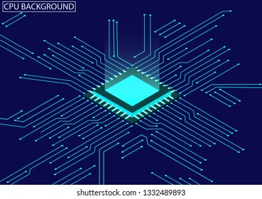 CPU chip and circuit board isometric. Blue microprocessor background