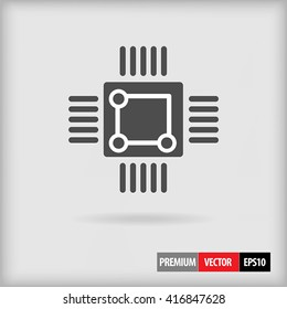 CPU chip vector icon in gray color and simple flat style design