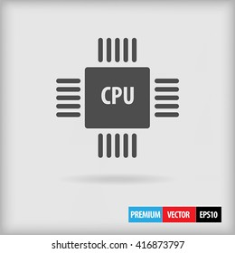 CPU chip vector icon for web site or application design in modern simple flat style