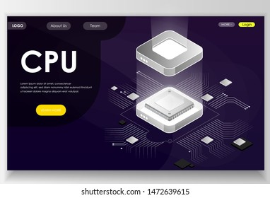 CPU concept. Can use for landing page, banners, websites etc. Vector isometric illustrationon violet background.