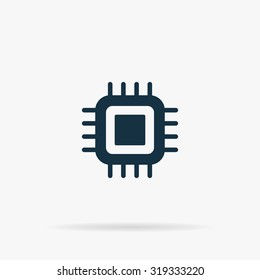 CPU. Flat vector web icon or sign on grey background with shadow. Collection modern trend concept design style illustration symbol