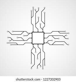 CPU icon in flat design. Vector illustration. Chip icon. Microprocessor symbol