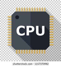 CPU icon in flat style with long shadow on transparent background