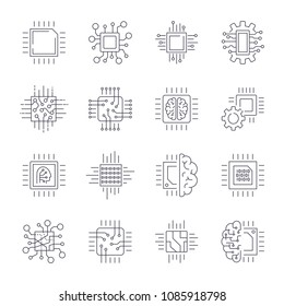 CPU Microprocessor and Chips Icons Set. Vector. Editable Stroke. EPS 10