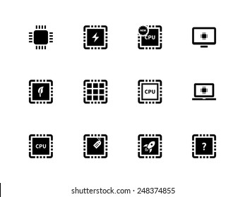 CPU and microprocessor icons on white background. Vector illustration.