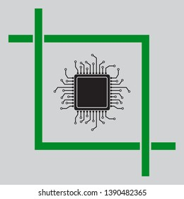 CPU Microprocessor illustration. Black icon inside green crop tool at light gray background