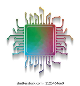 CPU Microprocessor illustration. Vector. Colorful icon with bright texture of mosaic with soft shadow on white background. Isolated.