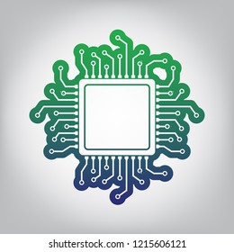 CPU Microprocessor illustration. Vector. Green to blue gradient contour icon at grayish background with light in center.