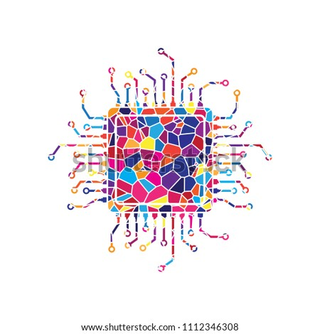 2a631108e CPU Microprocessor illustration. Vector. Stained glass icon on white  background. Colorful polygons.