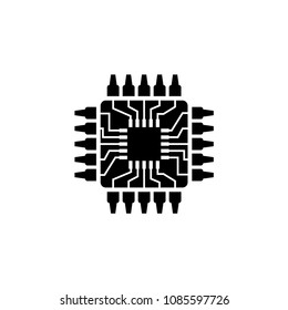 Cpu, Microprocessor, Microchip, Circuit board. Flat Vector Icon. Simple black symbol on white background