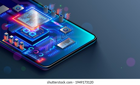 CPU of phone. Microchip, smd electronic components of mobile device on circuit board or motherboard. Digital Processor, parts of repair smartphone. Engineering and develop electronic microcontroller. - Shutterstock ID 1949173120