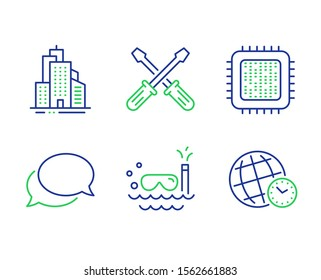Cpu processor, Messenger and Skyscraper buildings line icons set. Scuba diving, Screwdriverl and Time zone signs. Computer component, Speech bubble, Town architecture. Trip swimming. Vector