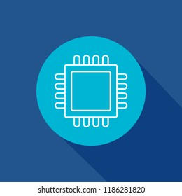 cpu,chip,microchip icon. hardware,processor,technology,digital,computer sign symbol for web and mobile app on blue background
