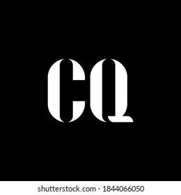 CQ C Q letter logo design. Initial letter CQ uppercase monogram logo white color. CQ logo, C Q design. CQ, C Q
