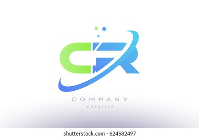 cr c r alphabet green blue swoosh letter company logo vector icon design template