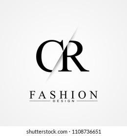 CR C R cutting and linked letter logo icon with paper cut in the middle. Creative monogram logo design. Fashion icon design template.