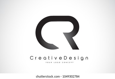CR C R Letter Logo Design in Black Colors. Creative Modern Letters Vector Icon Logo Illustration.