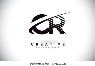 CR C R Letter Logo Design with Swoosh and Black Lines. Modern Creative zebra lines Letters Vector Logo