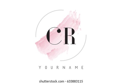 CR C R Watercolor Letter Logo Design with Circular Shape and Pastel Pink Brush.