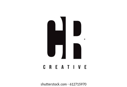 CR C R White Letter Logo Design with Black Square Vector Illustration Template.
