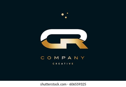 cr c r  white yellow gold golden metal metallic luxury alphabet company letter logo design vector icon template