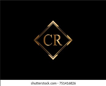 CR initial letter diamond shape golden logo
