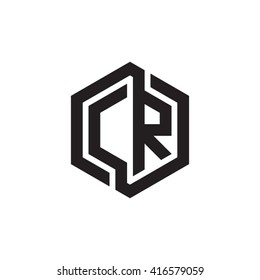 CR initial letters loop linked hexagon monogram logo