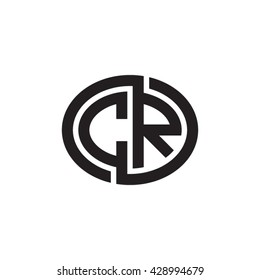 CR initial letters looping linked ellipse monogram logo