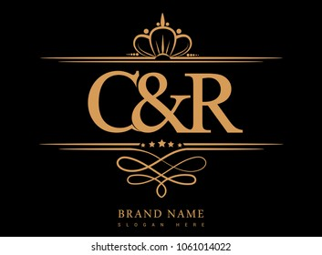 C&R Initial logo, Ampersand initial logo gold with crown and classic pattern