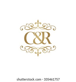 C&R Initial logo. Ornament ampersand monogram golden logo