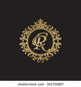 CR initial luxury ornament monogram logo
