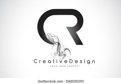 CR Letter Logo Design with Black Smoke. Creative Modern Smoke Letters Vector Icon Logo Illustration.