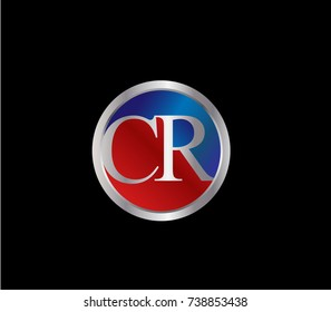 CR Letter logo Design in a circle. Blue Red and silver colored