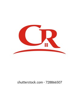 CR logo initial letter design template vector for real estate industry