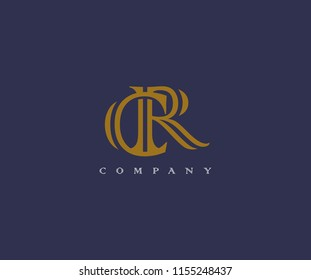 CR Vintage Monogram Typeface Linked Logo