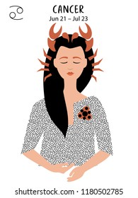 Crab to Cancer of zodiac and horoscope concept, vector art, illustration. Beautiful girl silhouette. Astrological sign as a beautiful women. Future telling, horoscope, alchemy, spirituality, occultism