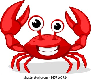 Crab character smiling with big claws on white.