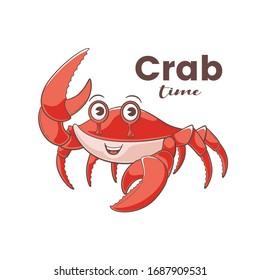 Diseño de cangrejo, ilustración vectorial en estilo caricatura, mascota linda