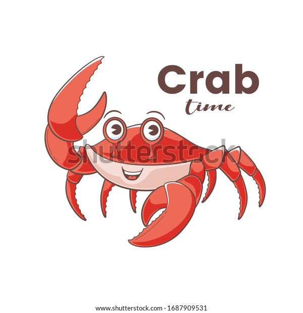 Crab design, vector illustration in cartoon style, cute mascot